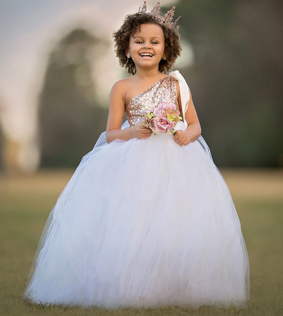 Sparkly Sequins One Shoulder 2017 Flower Girl Dresses for Wedding Puffy Tulle Sequins Girls First Communion Dress Custom Size