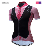 TELEYI Women Riding Ropa Ciclismo Cycling Short Sleeve Jersey Top Team Girls Road Clothing Mountain Jersey Pink/Purple