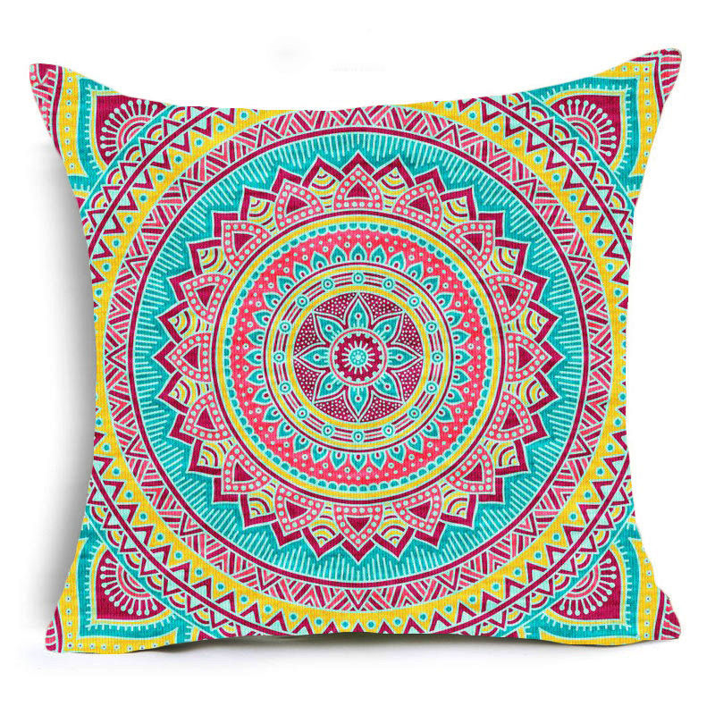 Yellow Mandala Print Sofa Cushion Covers