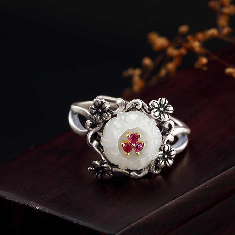หยกธรรมชาติ hetian 925 แหวนเงินสเตอร์ลิง handmade vintage สีขาวหยก plum blossom แหวน charms เครื่องประดับ