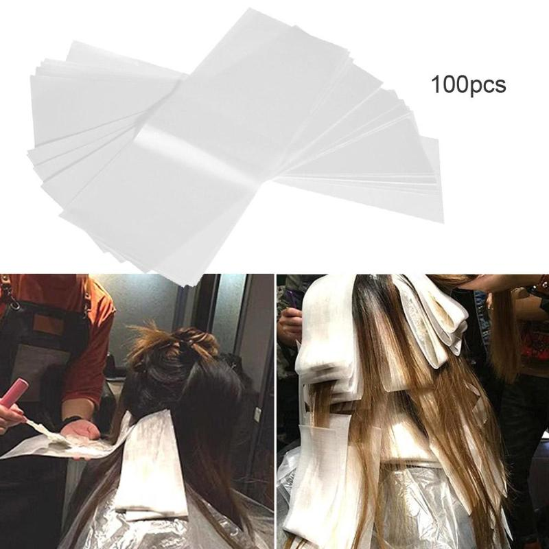 100pcs/pack Pro Salon Hair Dye Paper Recycleable Separating Stain Dyeing Color Tool Highlight Tissue Hairdresser Salon Tool