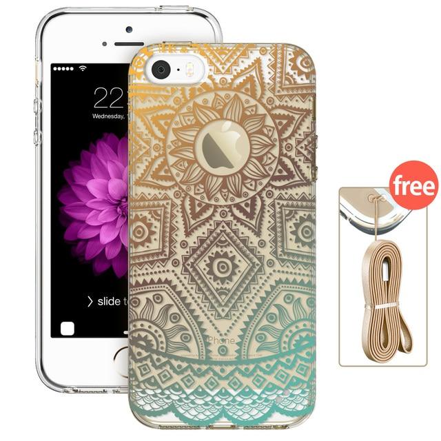 Case iPhone transparentny różne wzory + smycz gratis 5/5S/SE