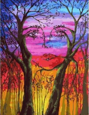 Wajah Alam Diy Minyak Lukisan Dengan Angka Di Atas Kanvas Dengan