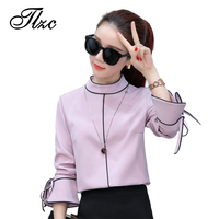 TLZC Pink Sweet Lady Blouse Chiffon Tops Size S XL New Trend Europe Style Elegant Women