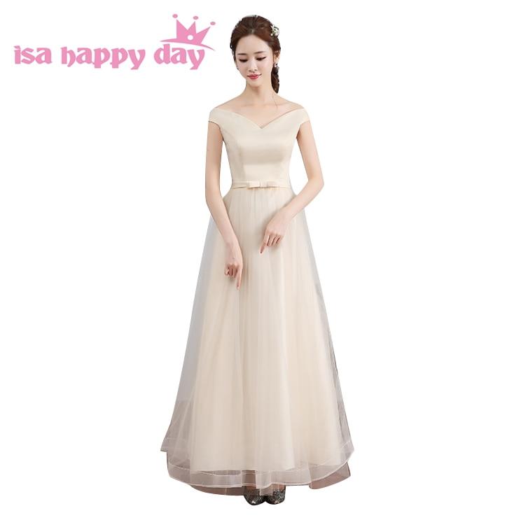 Champagne Color V Neck Sweet 16 Long Elegant Prom Dress Tulle 2018