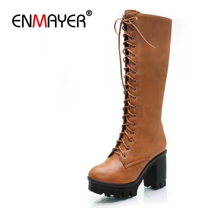 ENMAYER Black Yellow  BIG SIZE 34-43 Lace-Up Mid-Calf women boots shoes new Square heel High boots Winter fashion platform pumps mid calf women boots black white brown big size 34 43 new winter mid calf women boots black white brown for choice flats shoes