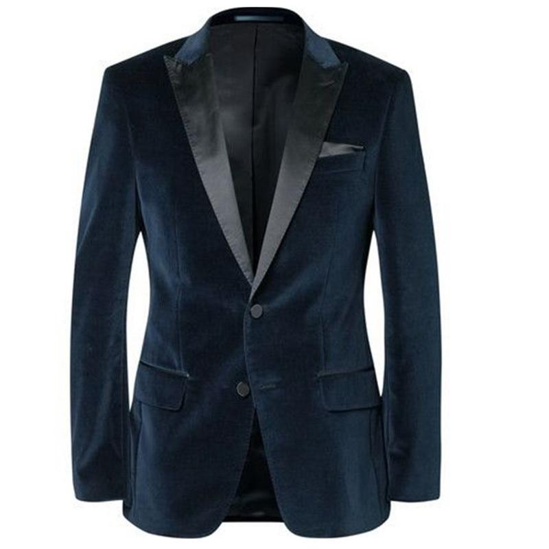 Men's Jackets Formal Weddings Suit Collar Velvet Material The Groom's Profile Jackets Men's Best Men's Jacket Custom Size - 3