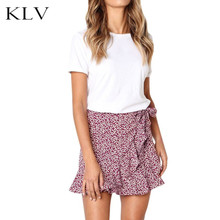 Womens Self-Tie High Waist Vintage Mini A-Line Skirt Irregular Ruffles Hem Leopard Floral Printed Evening Party Faux Wrap Skirt lace contrast faux pearl self tie top