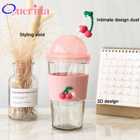 South Korea Creative Silicone Fruit Students Colorful Summer Straw Drink Glass Double Layer Circular Suction Cup