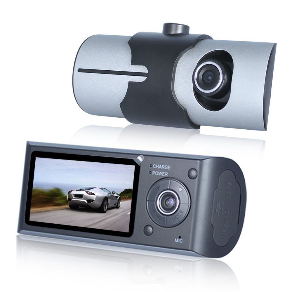 Dual Camera Car DVR R300 with GPS Cam Video Camcorder Cycle Recording Digital Zoom R300 DVR Dash Camera все цены
