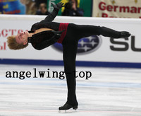 Men Ice Skating Suit Boys Figure Skating Dress For Competition Custom Figure Skating Suit with Trousers Black Free Shipping