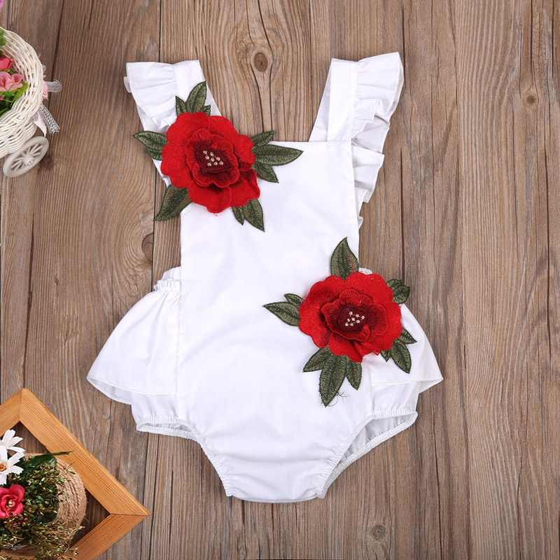 Embroidery Flower White Newborn Baby Infant Girl Clothes Floral Backless Romper Jumpsuit Body Suit Sunsuit Clothes For Newborns