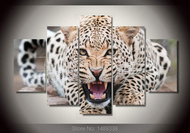 5 panel framed art leopard wall print painting large art hd picture