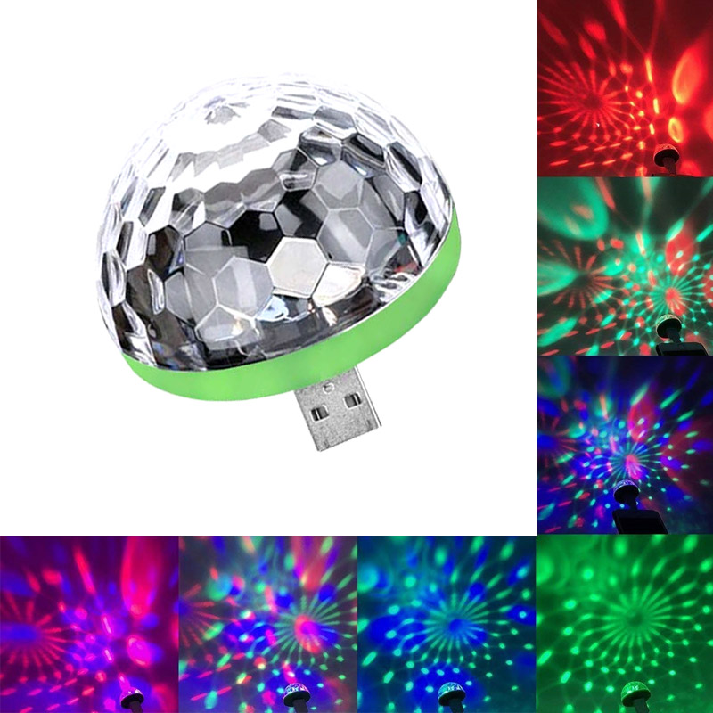 Mini USB Led Party Lights Portable Crystal Magic Ball Home Party Karaoke Decorations Colorful Stage LED Disco Light For Home(China)