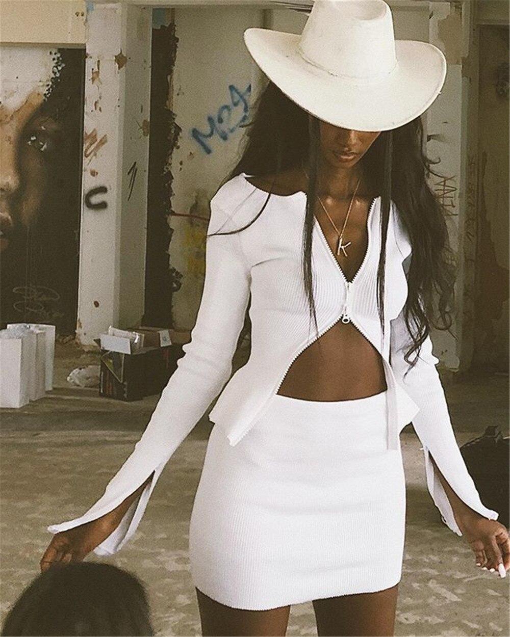 HTB1TcundUGF3KVjSZFvq6z nXXav KGFIGU kylie jenner ribbed Tops jackets Autumn long sleeve zipper coats sexy streetwear Ladies white knit kimono casaco feminino