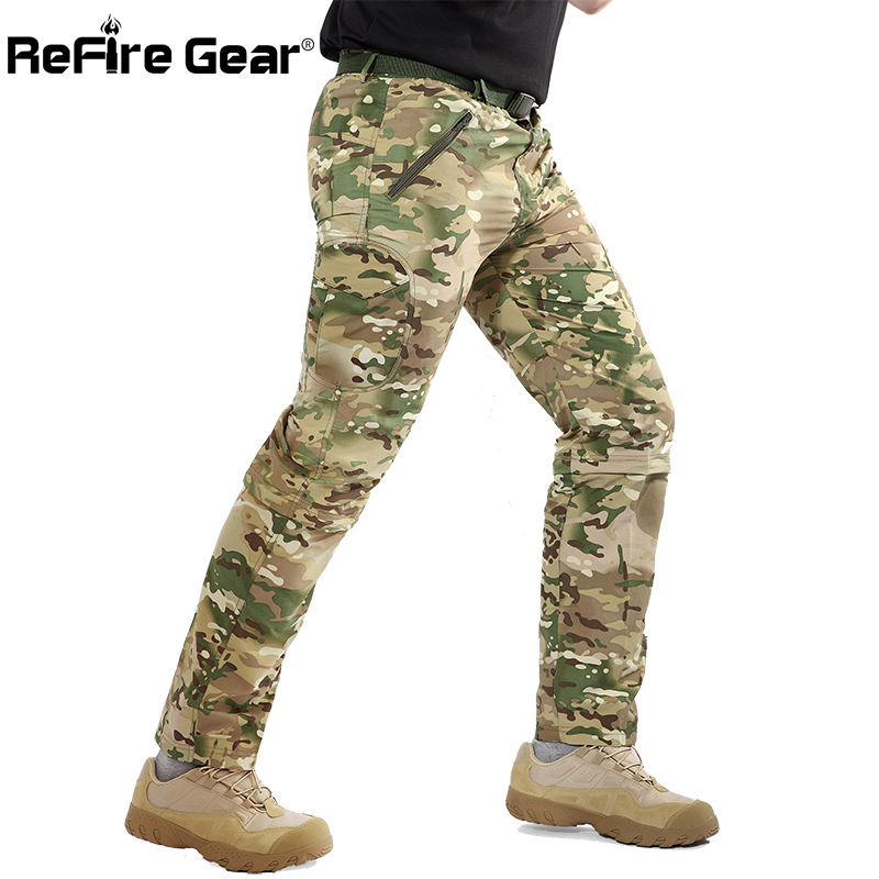 ReFire Gear Lightweight Removable Military Pants Men Quick Dry Camouflage Tactical Pants Breathable Leg Detachable Army Trousers