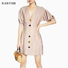 Summer Naked Pink Sexy Mini Dress For Women Vintage Button V-Neck Short Sleeve High waist A-Line Women's Beach Dresses Vestidos