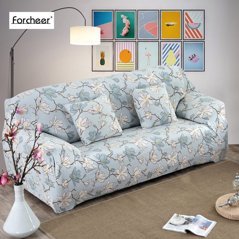 1PC Floral Print Flower Pattern Sofa Cover All inclusive Slip resistant Sofa Cover Elastic Sofa Towel