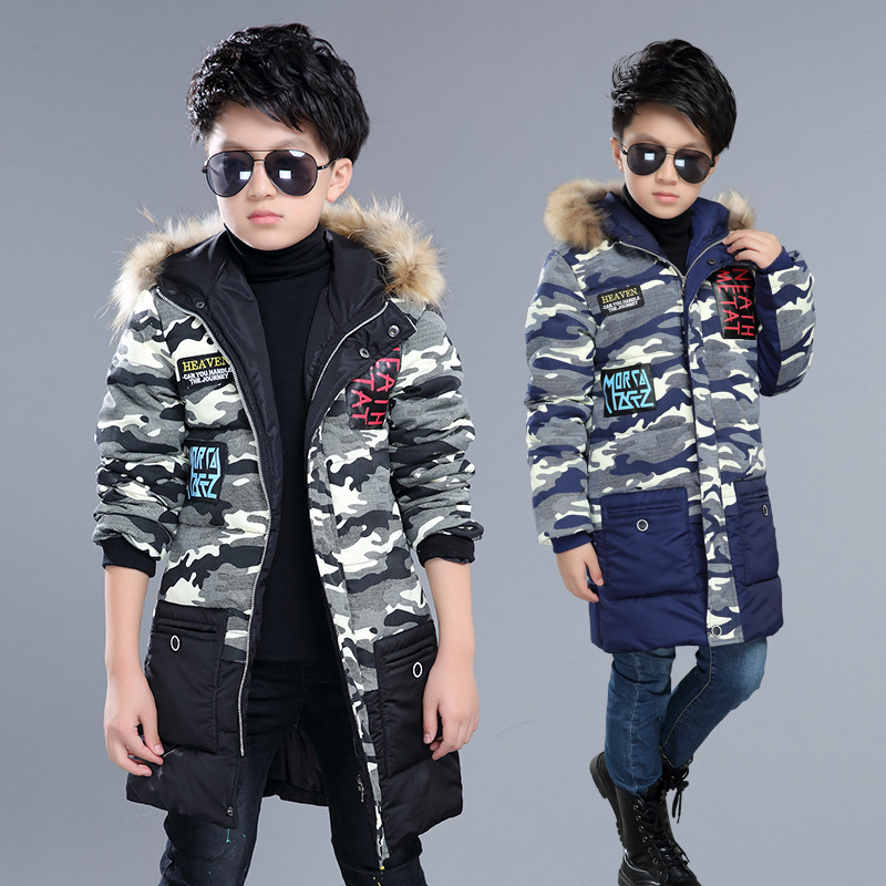 2017 new winter Kids boys Warm thicker imitation fur collar camouflage coat Down jacket baby Clothes Children Clothing 20W цены онлайн