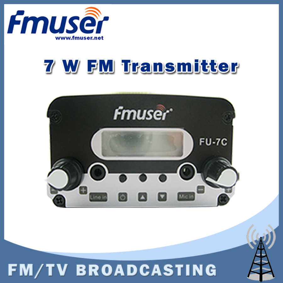 Free shipping FMUSER FU-7C 7W FM Transmitter stereo PLL FM radio broadcast FM transponder 1.5w/7w adjustable free shipping fmuser fu 30c new 30w fm transmitter 0 30w adjustable for fm radio station 1 2 wave dipole antenna kit