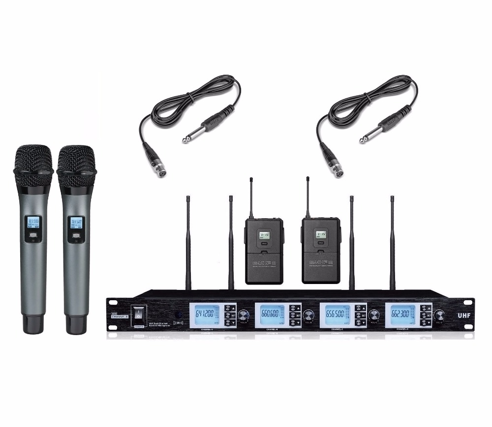 bolymic 4 channels wireless microphone system 2 handheld microphone 2 guitar cable in. Black Bedroom Furniture Sets. Home Design Ideas