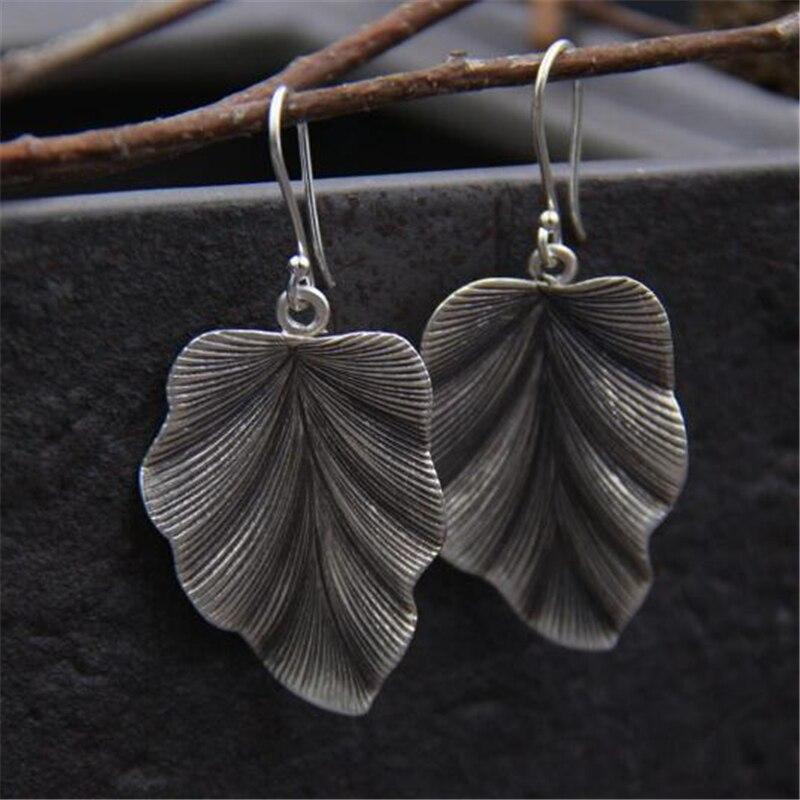 JINSE  Fashion Luxury Boho Antique 925 Silver Leaf Dangle Earrings Vintage Leaves Long Tassels Drop Earring For Women Jewelry