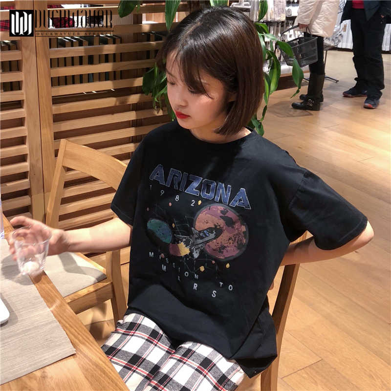a8fc81f34394 Duckwaver 2019 Women Short Sleeve Graphic Tees Tops Vintage T-shirts  Vincent aesthetic Black Tshirts