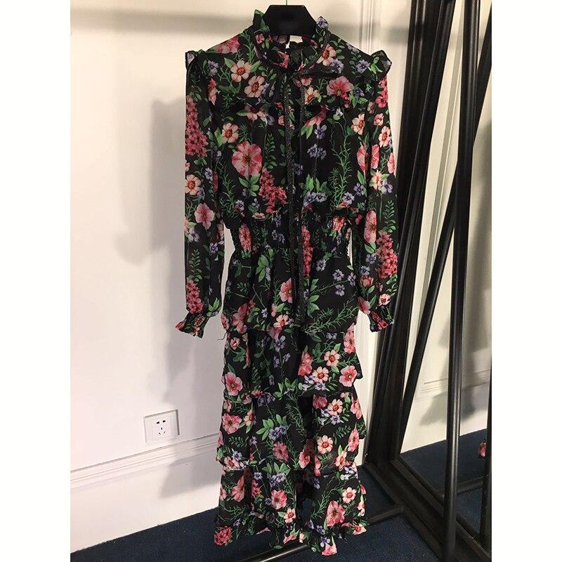 Mode 2019 Nouvelle cou De Qualité mollet Robe Longues Haute Robes Mi O Mignon Bohème Imprimé Femmes Floral 0Iq6q