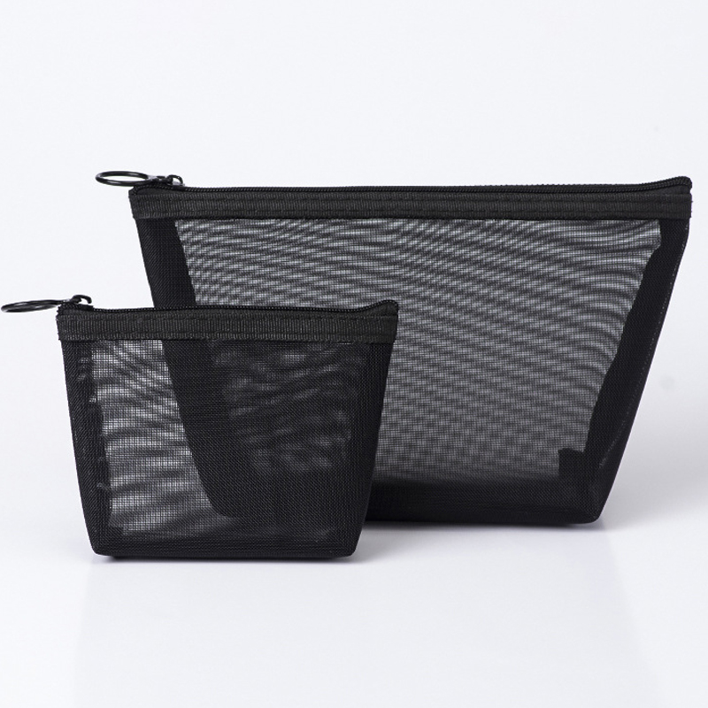 2PCS Fashion Small Large Transparent Travel Organizer Women Men Necessary Cosmetic Bag Black Makeup Pouch Toiletry Bags