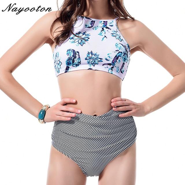 8f5405f647 US $8.62 49% OFF|High waist Swimsuit 2018 Hot sell women's Bikini Halter  Beachwear Sexy crop top Bathing Suit Eggplant printing Swimwear -in Bikinis  ...