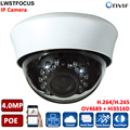 4MP Network IP Camera IR POE CCTV H265 H264 dome OV4689+Hi3516D HD CCTV Dome IP Camera 4MP POE Motion Detection WDR 2.8-12mm len