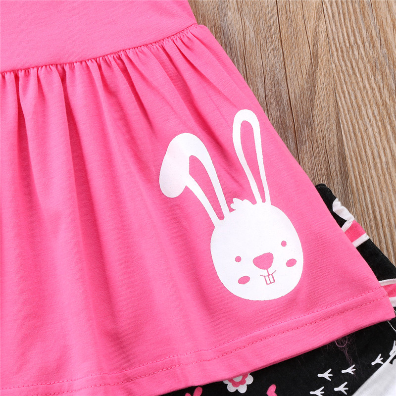 Children Easter Bunny Egg Clothing Summer Baby Girl Halter Sleeveless Tops Mini Dress Pants 2pcs Outfit Hot Sale Kid Clothes Set