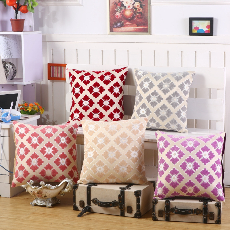 geometric red grey floral cushion cover nordic style vintage striped throw pillow covers chair sofa seat