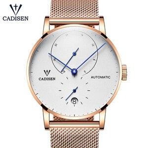 Image 3 - Cadisen relógio masculino de aço completo automático auto vento relógio mecânico de reserva de energia moda casual malha banda wristwathes
