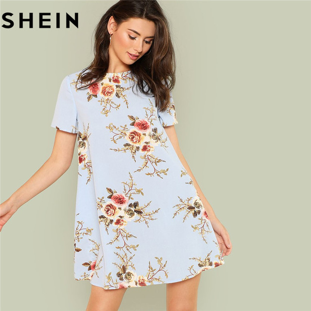 44322a351b SHEIN Lady Short Sleeve O Neck Floral Print Swing Dress 2018 New Summer  Clothes Weekend Casual