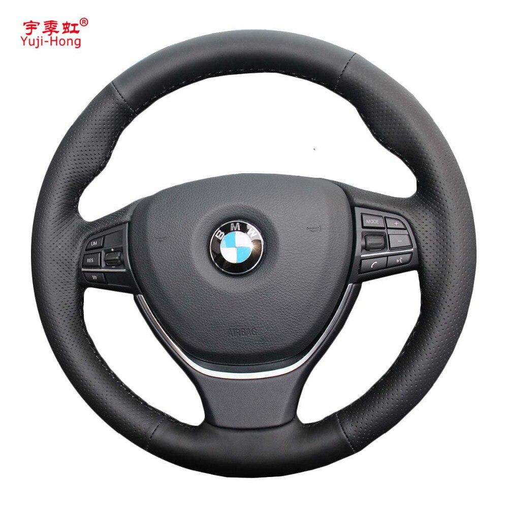 Yuji Hong pokrowce na kierownicę samochodową przypadku dla BMW serii 5 2014 525i 528i serii 7 730i ręcznie szyta sztuczna skóra