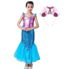Mermaid Fancy Costumes Dress With Headband For Kids Girls Sequin Princess Birthday Party Cosplay Clothes Vestido 3-10 Ye