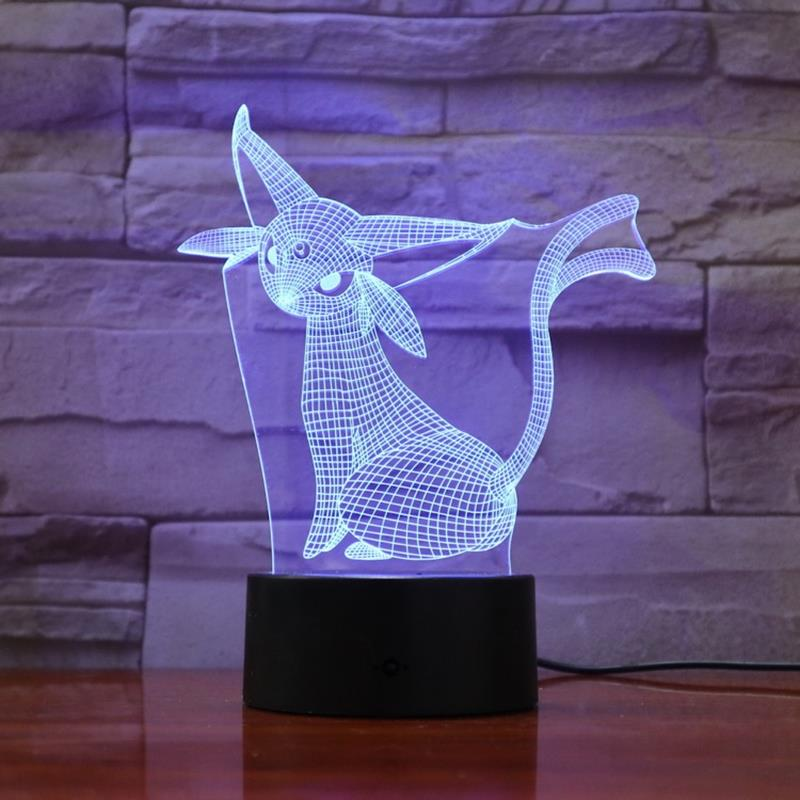 Pokemon Game Figures Cartoon 3D Lamp Espeon Sun Treasure Night Light LED Bulb Multicolor Children's Gift Kid Toy Party Gadgets