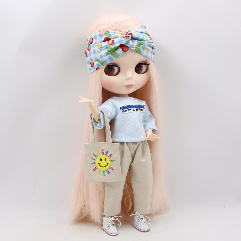Neo Blythe Doll Oversize White Shirt & Pants With Hairband & Handbag 3
