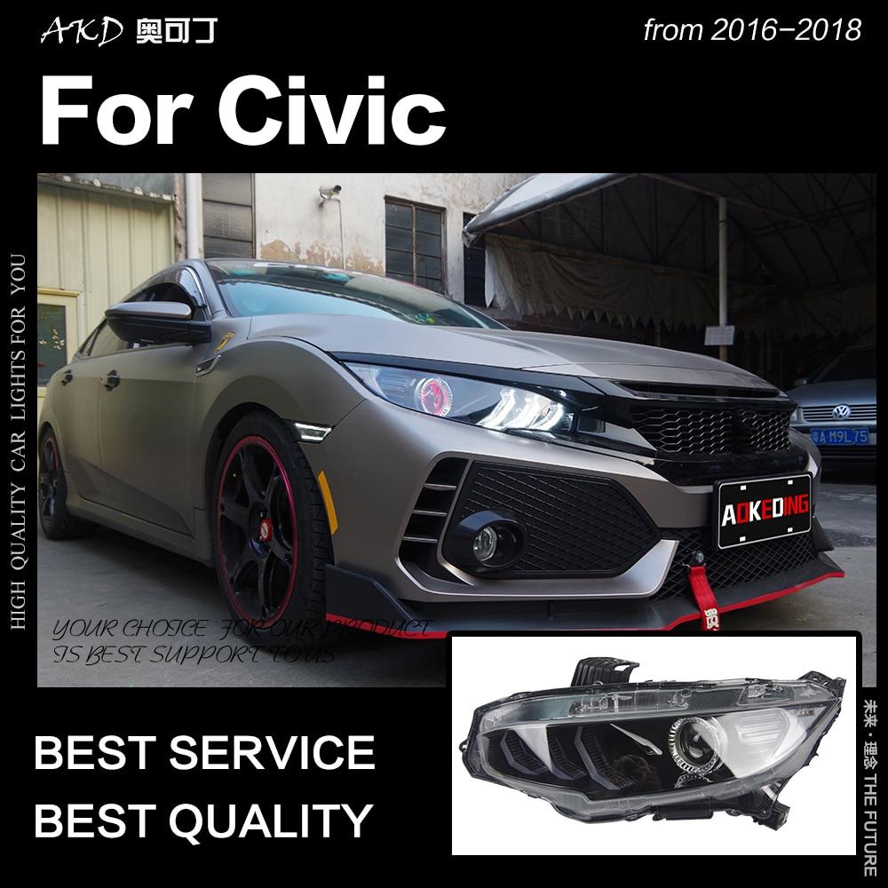 AKD voiture style pour Civic phares 2015-2017 berline 5 portes phare LED DRL Hid phare Angel Eye Bi xénon faisceau accessoires