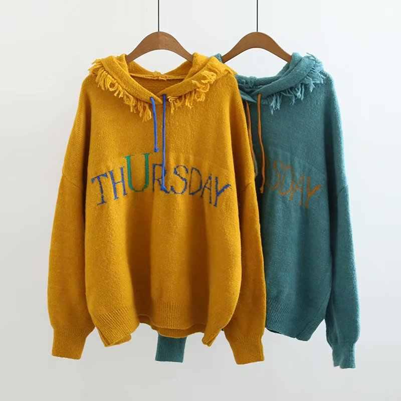 뜨거운 판매 캐주얼 편지 인쇄 블루 스웨터 술 후드 칼라 니트 풀오버 긴 소매 패션 여성 코트 탑스