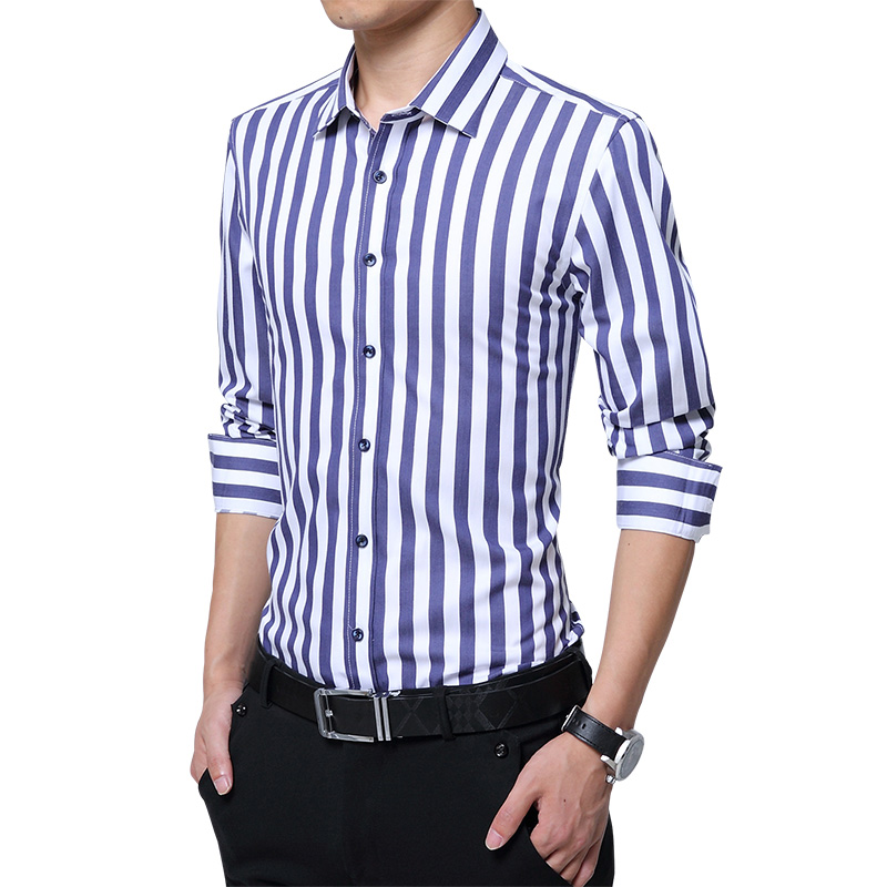 LOLDEAL Male Summer Long-sleeved Shirt  Business Stripe Casual