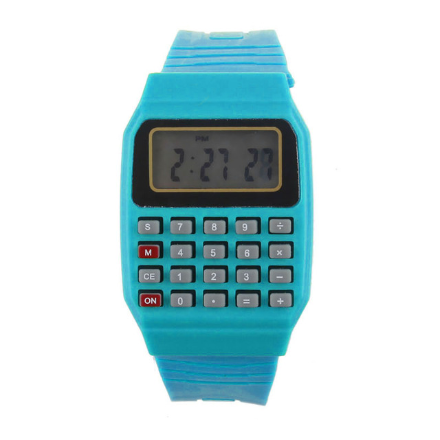#5001Unsex Silicone Multi-Purpose Date Time Electronic Wrist Calculator Watch DR