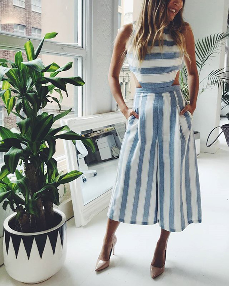 1815cdd020a Womens Sleeveless Striped Jumpsuit Casual Loose Trousers Fashionable ...