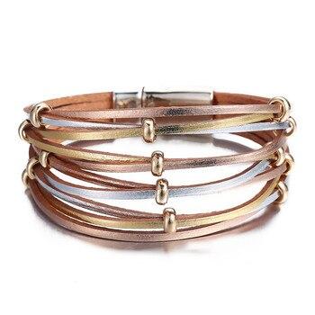 Women's Gold Leather Bracelet Bracelets Jewelry New Arrivals Women Jewelry Metal Color: FCS114251