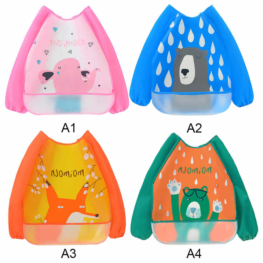 Baby Waterproof Bibs Infant Burp Cloths Long Sleeve Feeding Animals Pattern Children EVA Material Smock Feeding Accessories