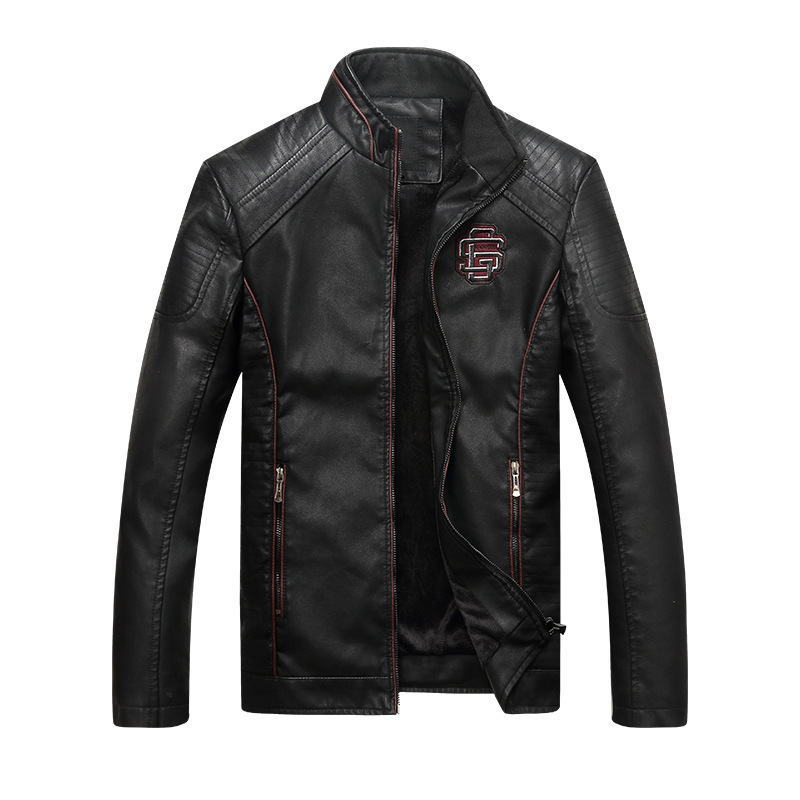Winter Fashion Men Jacket Stand Collar Inner Velvet Warm Jacket Men Casual Coats PU Leather Punk Style Biker Jackets Hombre