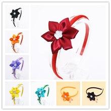 Милые повязки на голову с цветами из корсажной ленты; Блестящие Детские однотонные повязки на голову со звездами; аксессуары для волос для девочек