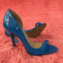 Women Stiletto Thin High Heel Sandals Sexy Open Toe Blue Patent Fashion Party Bridals Ball Lady Shoes 0640C-Q1