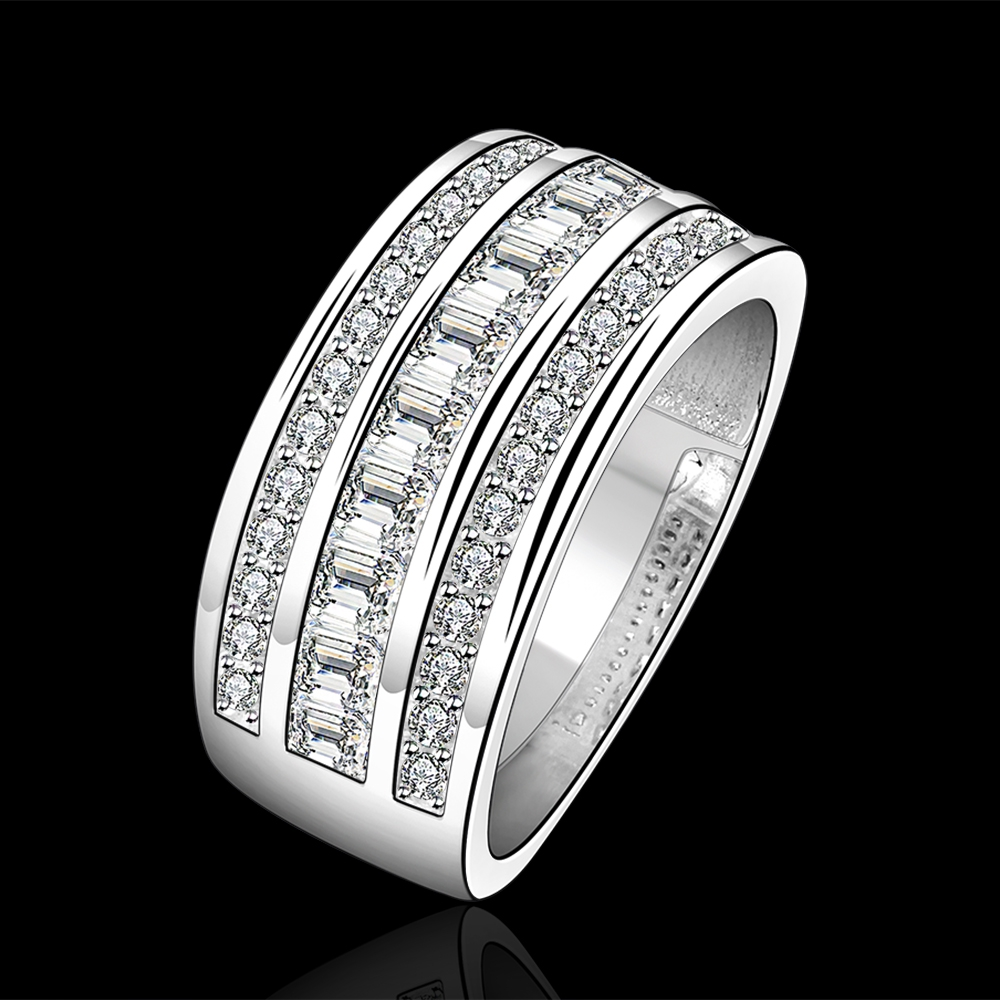 Top Quality Silver Plated Stamped 925 Fashion Jewelry Three Line Full Stone Wedding Ring S Finger Rings Whole In From Accessories